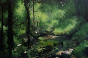 Paysage-immersion 18, huiles sur toile, 195x133, 2016, Franck Populaire